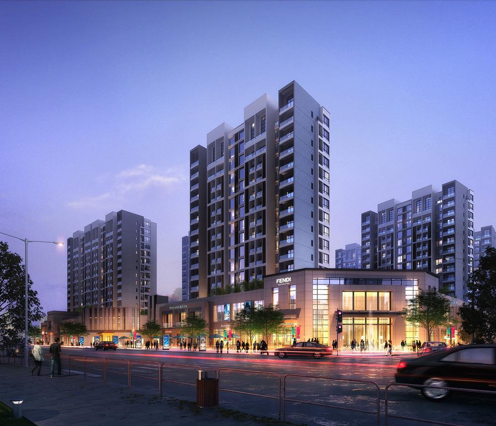 高层安置房建筑方案设计效果图作品